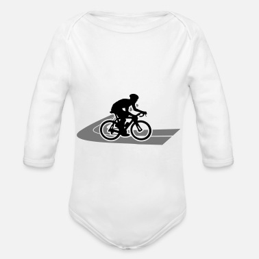 Road Road bike Road cyclist on the road - Organic Long-Sleeved Baby Bodysuit