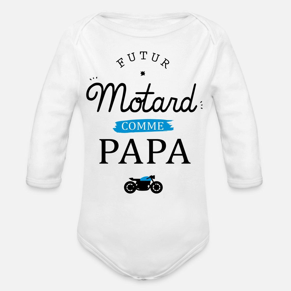 Spreadshirt Fils Futur Motard comme Papa Body B/éb/é Bio Manches Courtes