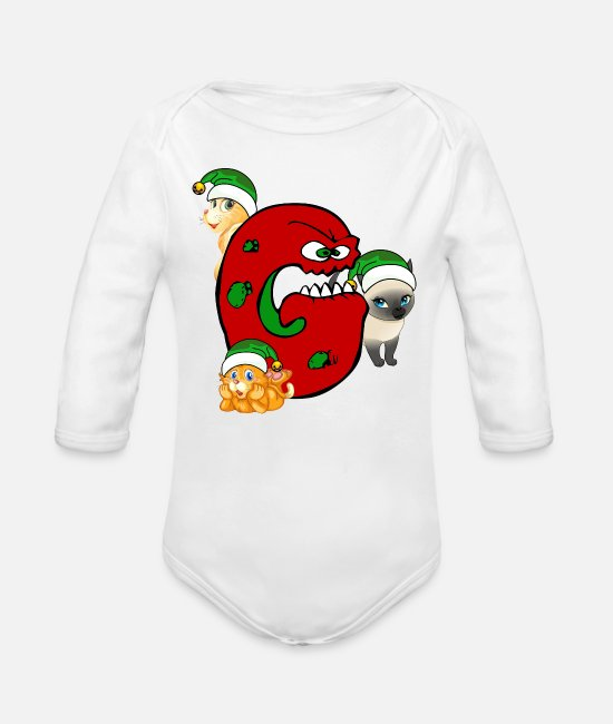 Gang Body neonato - Cat Grinch Gang Natale - Body a manica lunga per neonati bianco