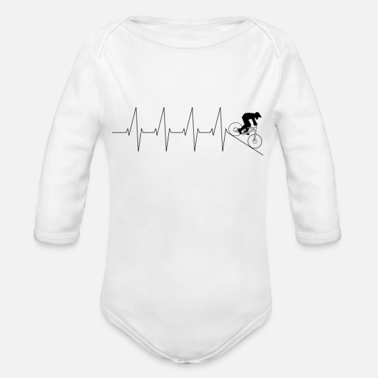 Gift Idea Baby Clothes - Downhill Heartbeat Heart Bike Mountain Bike - Organic Long-Sleeved Baby Bodysuit white