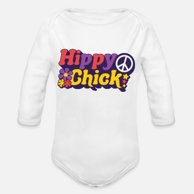 Festival Hippy Chick Hippie Girl Girl Peace 70s anti was - Organic Long-Sleeved Baby Bodysuit
