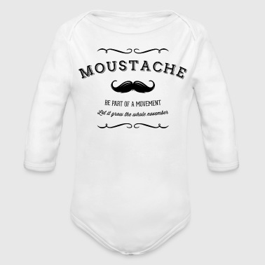 Movement November Moustache Movement - Baby bio-rompertje met lange mouwen