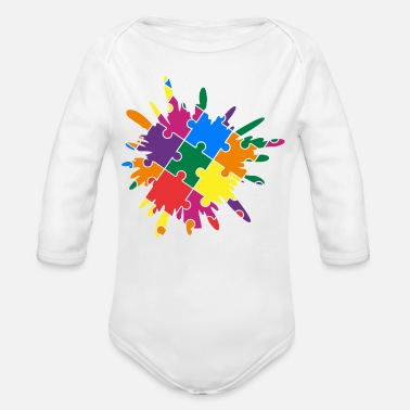 Puzzle Autism Awareness Puzzle Colorful Splash - Organic Long-Sleeved Baby Bodysuit