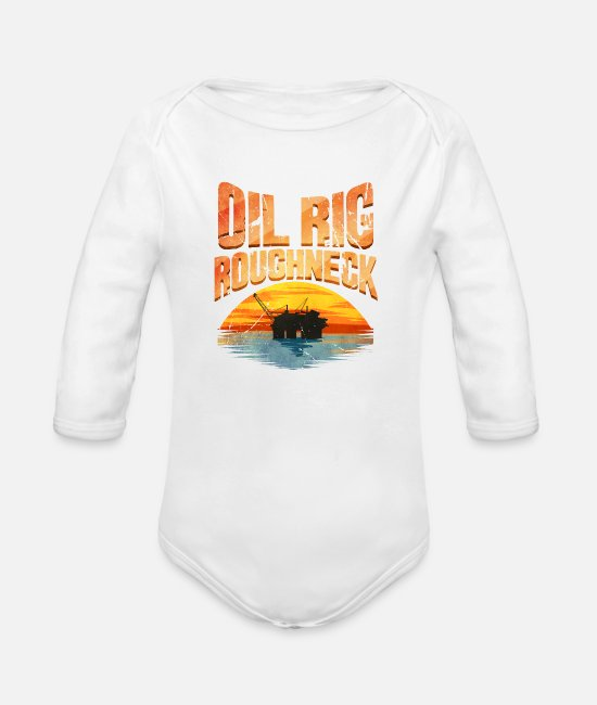 Middle East Baby Bodysuits - Oil Rig Worker Roughneck - Organic Long-Sleeved Baby Bodysuit white