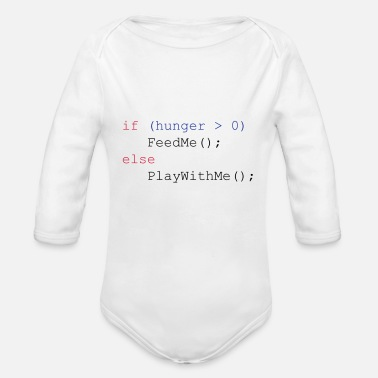 Geek If hunger feed me else play with me - Økologisk langermet babybody
