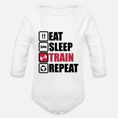 Funny Gym eat sleep train repeat bodybuilding gym  - Body orgánico de manga larga para bebé