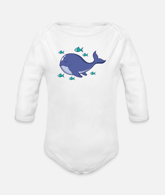 Birthday Baby Clothes - Whale with fish - Organic Long-Sleeved Baby Bodysuit white