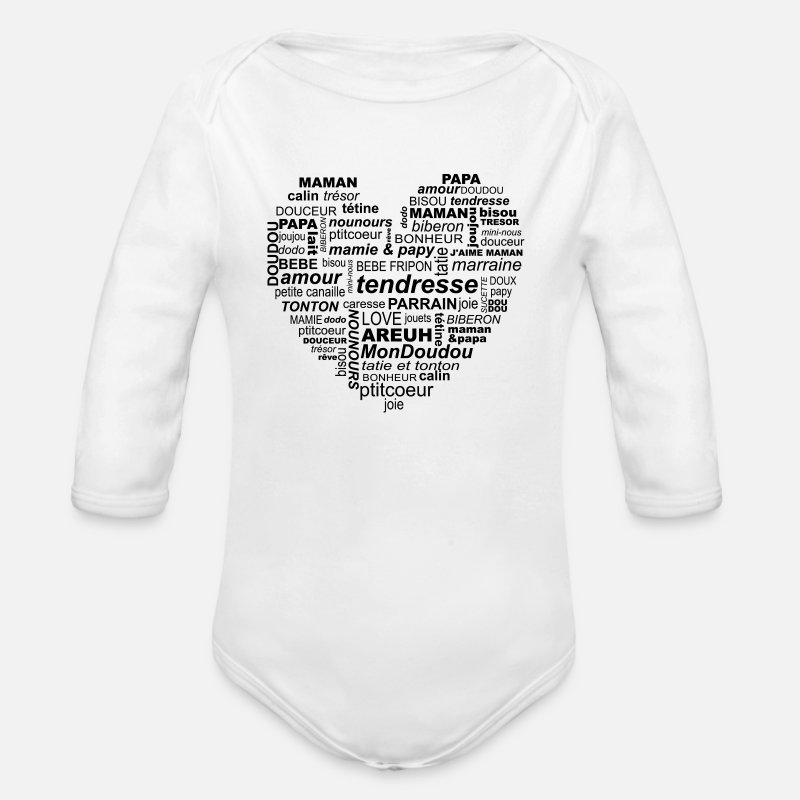S aimer Vêtements Bébé - coeur bébé - Body bébé bio manches longues blanc e1f0334fa2a