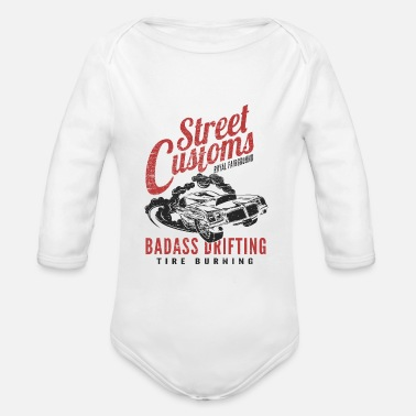 Drift Motorsport - Badass Drifting - Tire Burning - Organic Long-Sleeved Baby Bodysuit
