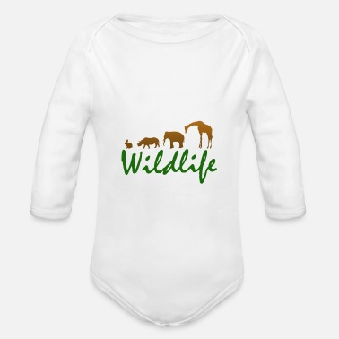 Wild Animal Parks Wild animals - wild animals - Organic Long-Sleeved Baby Bodysuit