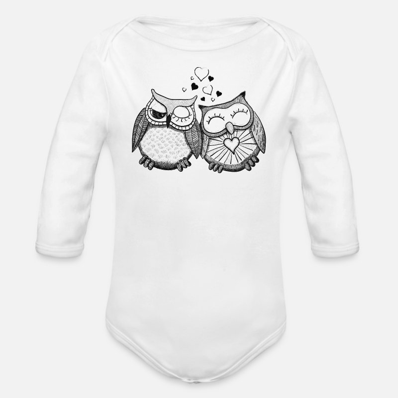 Couples Baby Clothing - owls in love  - Longsleeved-Sleeved Baby Bodysuit white