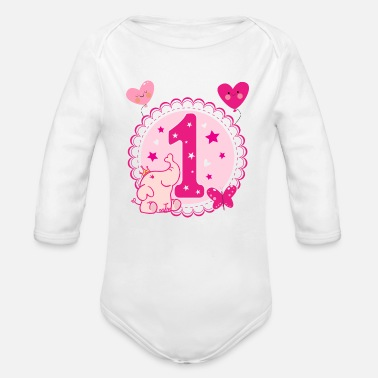 first birthday 1st birthday one year gift - Organic Long-Sleeved Baby Bodysuit