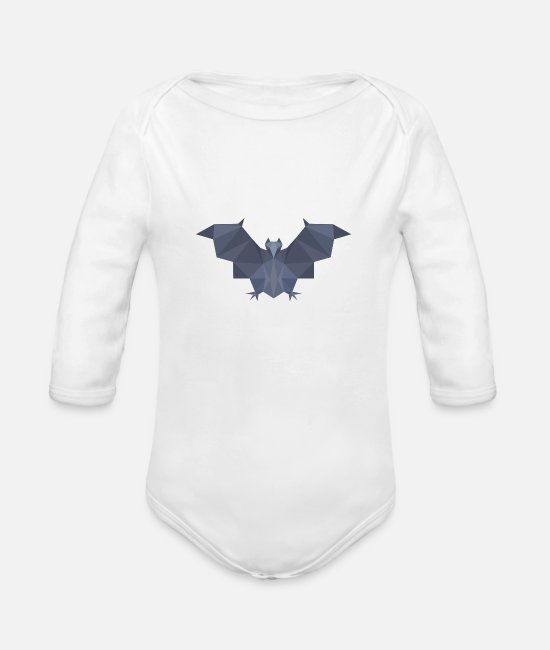 Bats Baby Clothes - Polygon bat - Organic Long-Sleeved Baby Bodysuit white