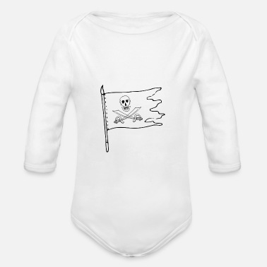 Pirate Flag Pirate Flag Pirates Pirate Flag Skull Skull - Organic Long-Sleeved Baby Bodysuit
