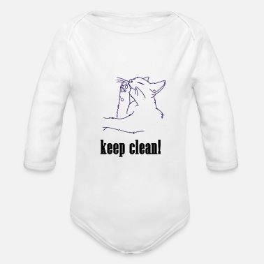 Clean What It Is keep clean, cat, clean, pet, meow, clean - Organic Long-Sleeved Baby Bodysuit