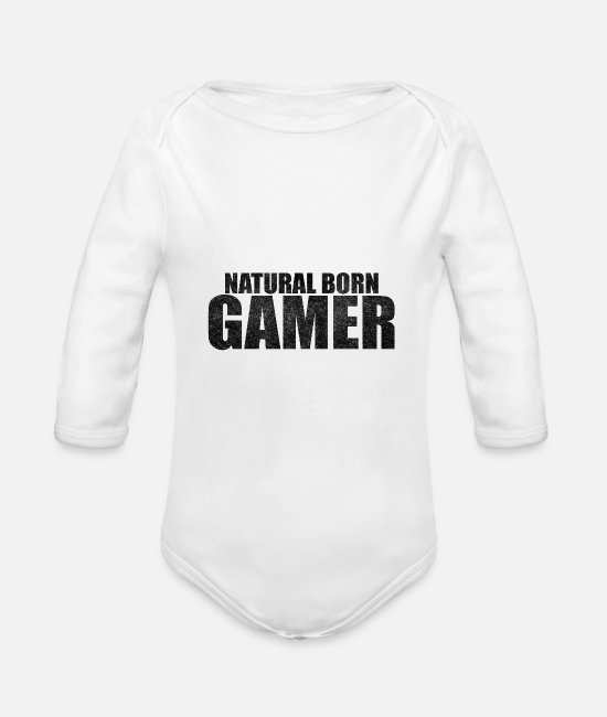 Multiplayer Baby Bodys - Natural Born Gamer Zocker Geek Clan Shirt Geschenk - Baby Bio Langarmbody Weiß