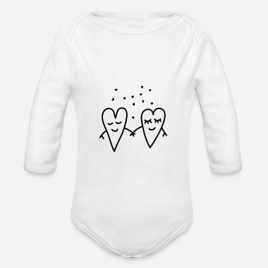 I Love Valentines Day Love Hearts Couple Relationship girlfriend - Organic Long-Sleeved Baby Bodysuit