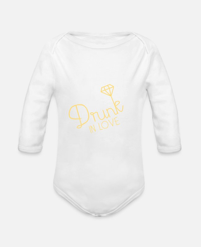 Love Baby Bodysuits - drunk in love - Organic Long-Sleeved Baby Bodysuit white