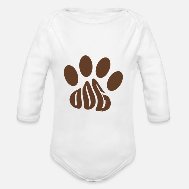 Dog paw text form - Organic Long-Sleeved Baby Bodysuit