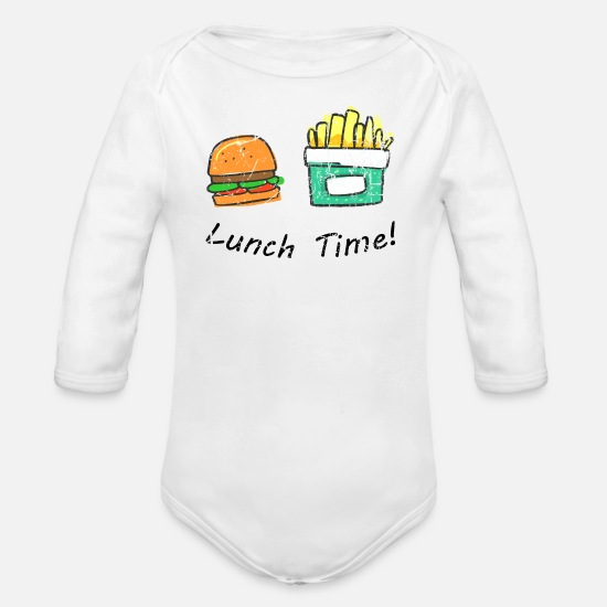 Gift Idea Baby Clothes - Lunch time burger with chips - Organic Long-Sleeved Baby Bodysuit white