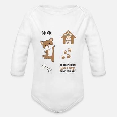 Pack-animals Dog brown puppy paws cute sticker pack - Organic Long-Sleeved Baby Bodysuit