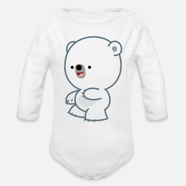 Mischievous Mischievous Little Polar Bear- Cheerful Madness!! - Organic Long-Sleeved Baby Bodysuit