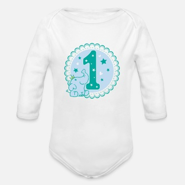 One Birthday first birthday 1st birthday one year gift - Organic Long-Sleeved Baby Bodysuit
