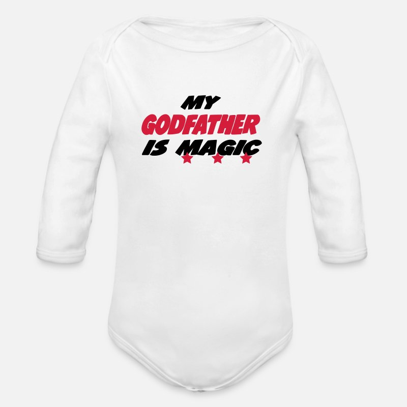 Broer  Babykleding - My godfather is magic - Rompertje met lange mouwen wit