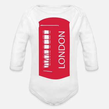 Booth LONDON red telephone booth - Organic Long-Sleeved Baby Bodysuit