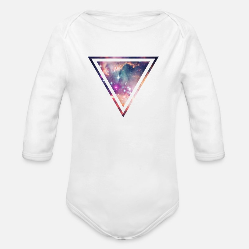 Space Baby Clothing - Galaxy - Space - Universe / Hipster Triangle - Longsleeved-Sleeved Baby Bodysuit white