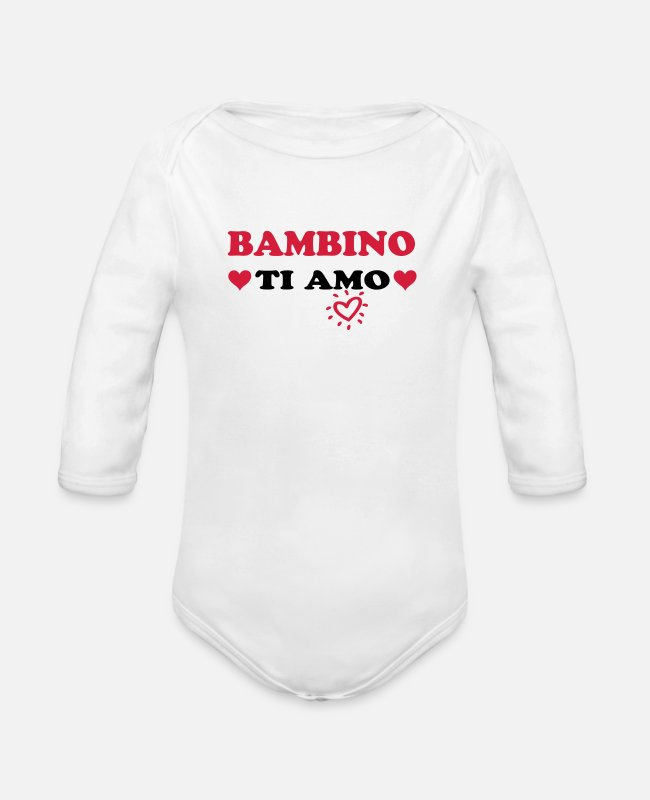 Pregnancy Baby Bodysuits - Bambino ti amo - Organic Long-Sleeved Baby Bodysuit white