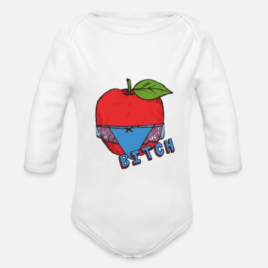Healthy Underwear Apple Thong Underwear Bitch Funny Sexy - Organic Long-Sleeved Baby Bodysuit