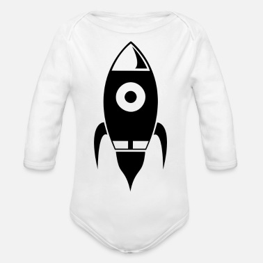 Take Rocket takes off into space - Organic Long-Sleeved Baby Bodysuit