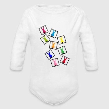 Stamps with easter rabbits / easter bunnies - Organic Longsleeve Baby Bodysuit