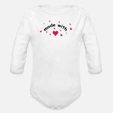 made with heart herz love  - Organic Long-Sleeved Baby Bodysuit