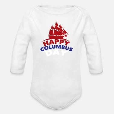 1492 Happy Columbus day 1492 - Organic Long-Sleeved Baby Bodysuit
