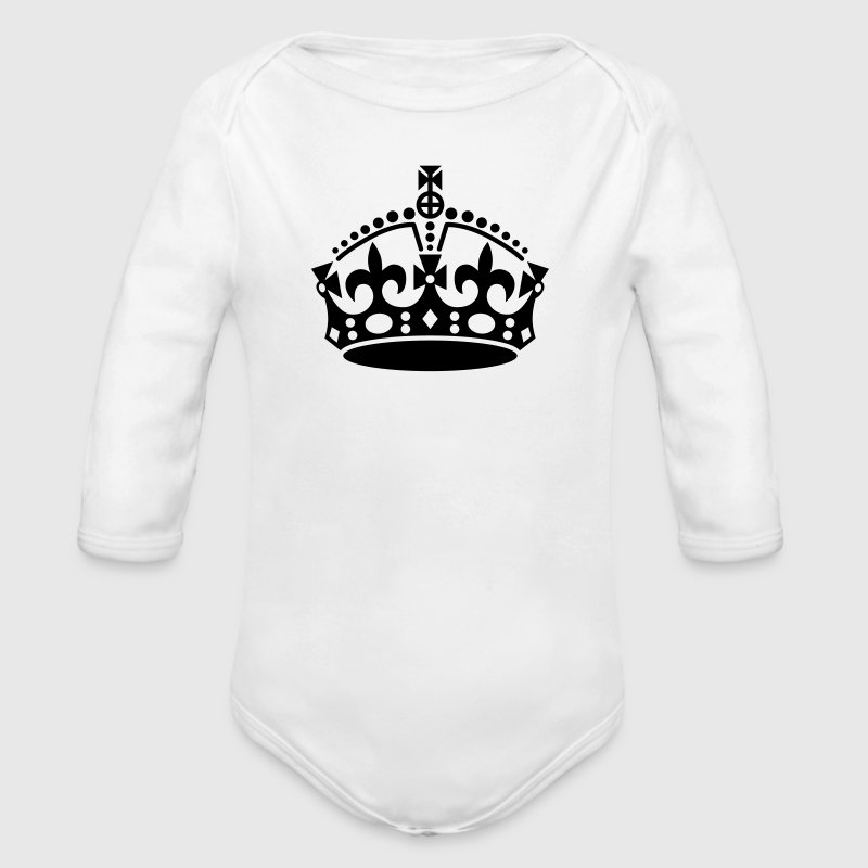 Keep Calm Kroon - Baby bio-rompertje met lange mouwen