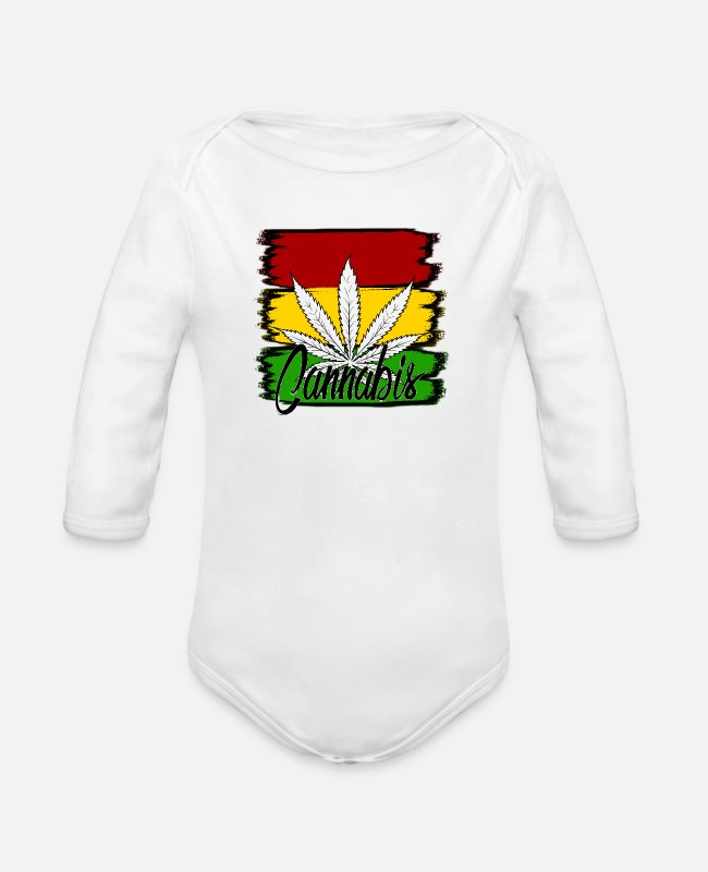 Cannabis Baby Bodysuits - cannabis - Organic Long-Sleeved Baby Bodysuit white
