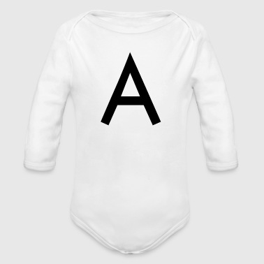 Initial The A initial letter - Organic Longsleeve Baby Bodysuit