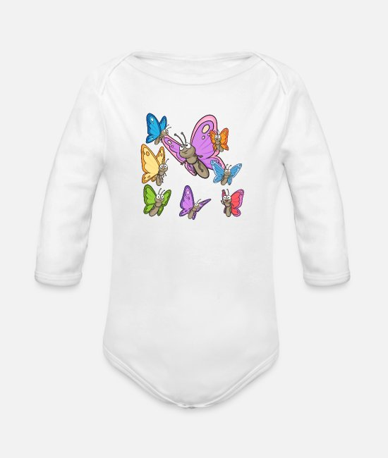 Pupa Baby Bodysuits - Butterflys - Organic Long-Sleeved Baby Bodysuit white