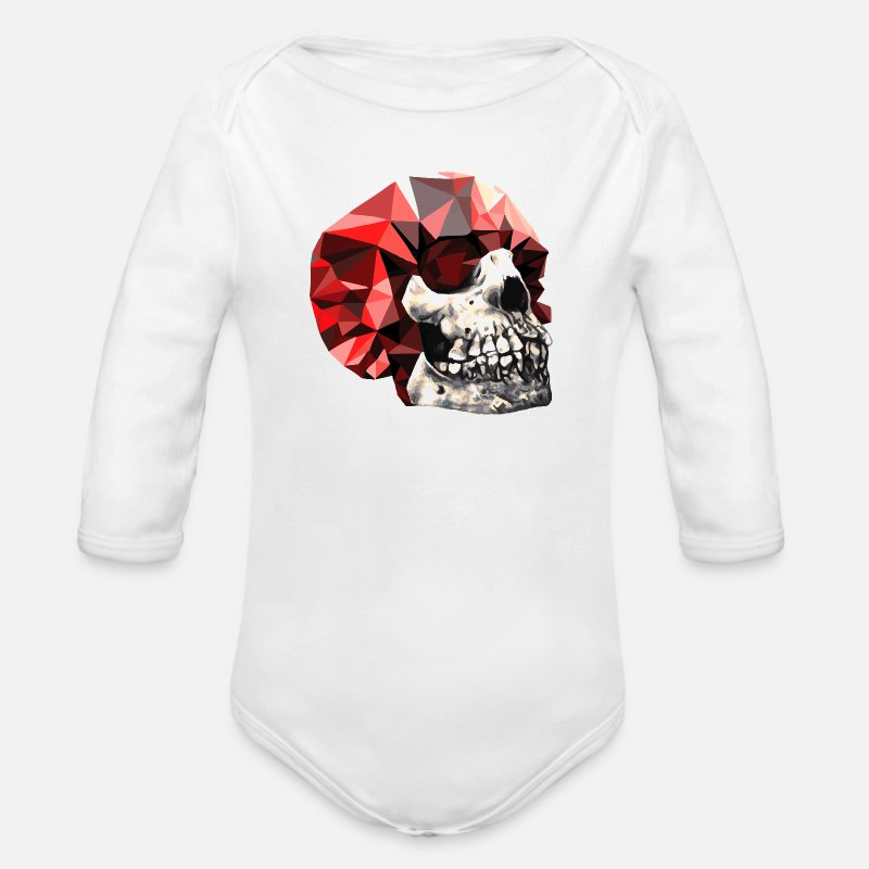Birthday Baby Clothes - Bones and diamonds - Organic Long-Sleeved Baby Bodysuit white