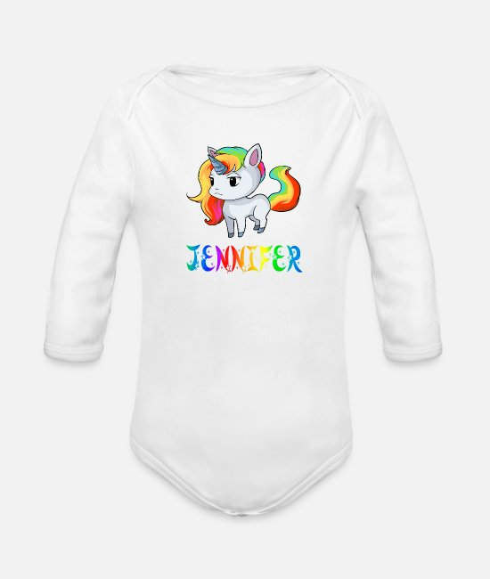 Jennifer Unicorns Baby Bodysuits - Jennifer unicorn - Organic Long-Sleeved Baby Bodysuit white