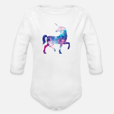 Unicorn with constellation design - Organic Long-Sleeved Baby Bodysuit