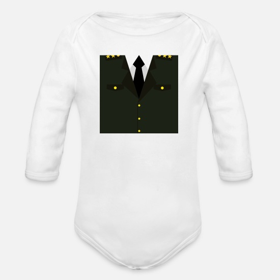 Idea Baby Clothes - Dark green military uniform - idea gift - Organic Long-Sleeved Baby Bodysuit white