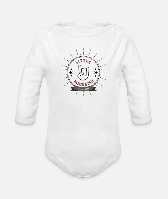 Circular Baby Bodysuits - Little Rock Star french fries fork - Organic Long-Sleeved Baby Bodysuit white