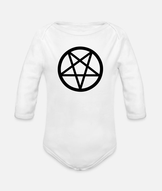 Magic Baby Clothes - Pentacle - Organic Long-Sleeved Baby Bodysuit white