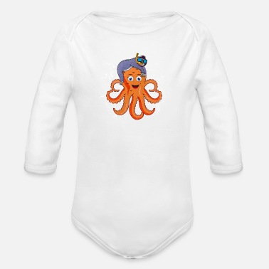 Biologi Sloth Riding En Octopus Funny Animal T-skjorte - Økologisk langermet babybody