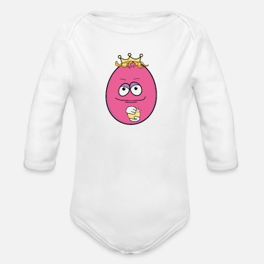 Mischievous Mischievous prince in egg shape - Organic Long-Sleeved Baby Bodysuit