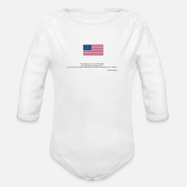 Quat Ronald Reagan quate American flag - Organic Long-Sleeved Baby Bodysuit