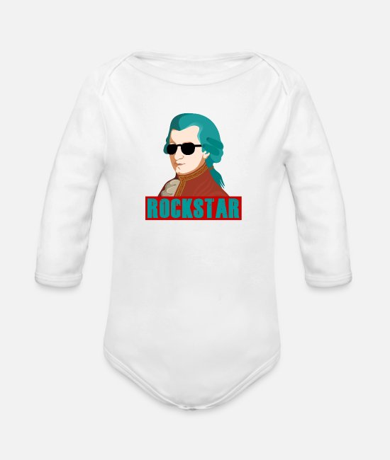 Sunglasses Baby Clothes - Mozart star - Organic Long-Sleeved Baby Bodysuit white